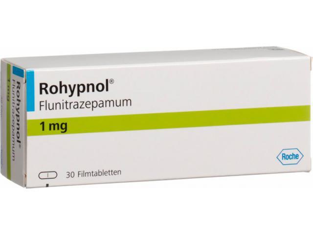 Rohypnol pills, Flunitrazepam 1mg and 2mg Roche